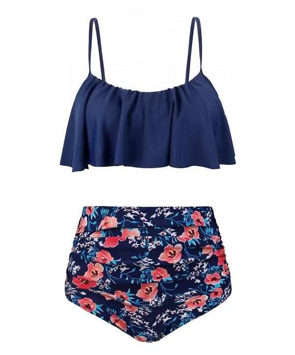 EasyMy Vintage Waisted Flounce Swimsuit