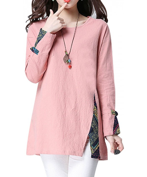 cheapest another chance new lifestyle Women's Cotton Linen Tops Long Sleeve T-Shirt Boho Splice ...