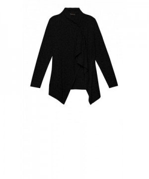 Bobeau 22332355S BLACK L Asymmetrical Sweater Cardigan