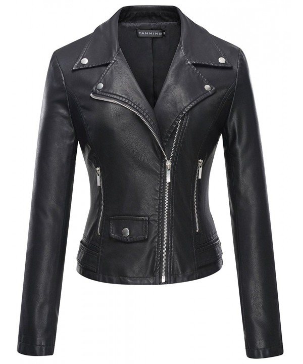 Tanming Womens Leather Jacket Large