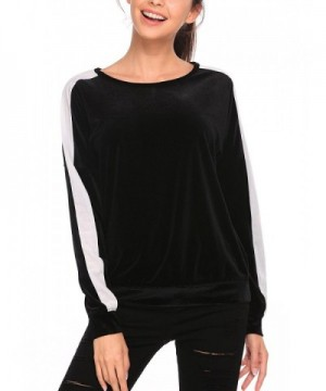 596f24868404b Women Velvet Shirt Long Sleeve Crewneck Lightweight Plain Sweatshirt ...