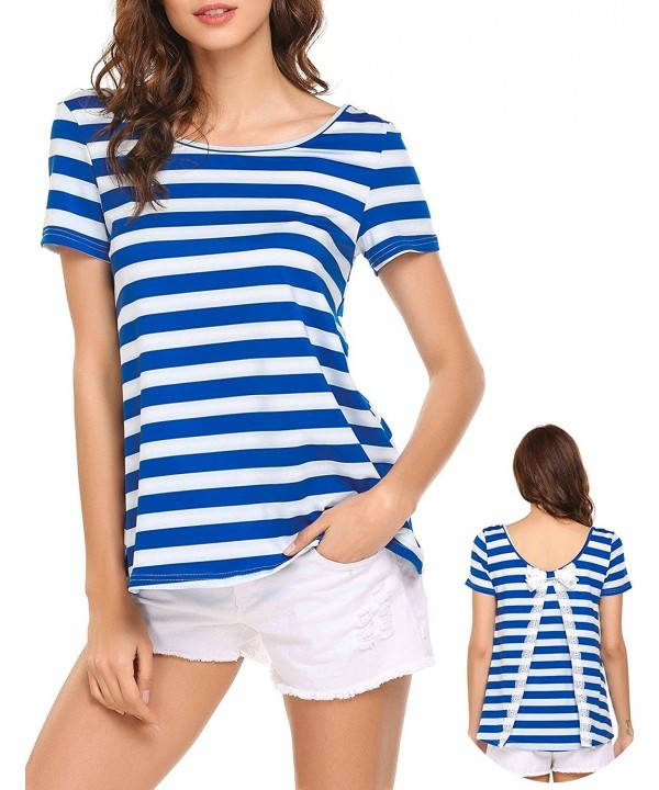 SoTeer Womens Striped T Shirt Splicing