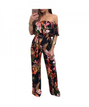 Printed Sleeveless Ruffled Backless Jumpsuit