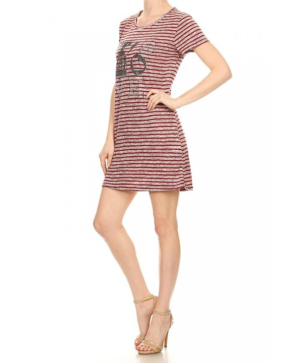 Striped T Shirt Graphic Printed 5607 Burgundy