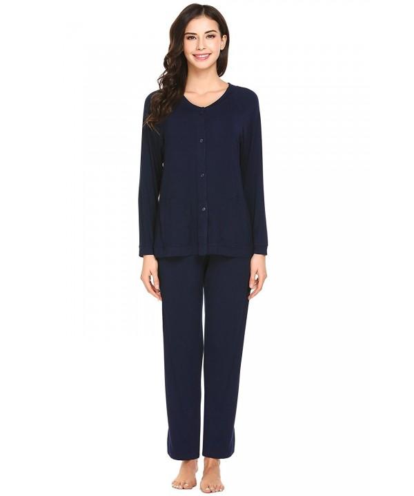 4d119c3918 L amore Womens Pajamas Set Button Down V Neck PJS Top and Long Pants ...