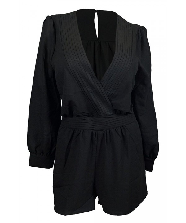 eVogues Plus Sleeve Romper Black