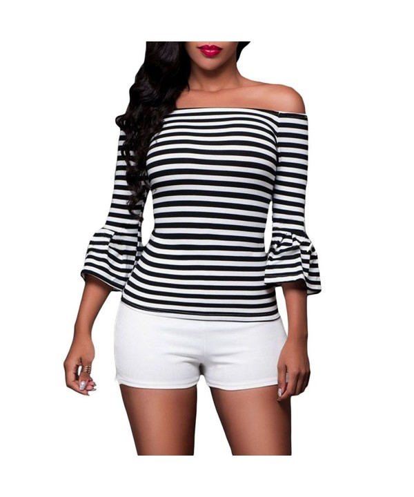 Kalin Stripes Sleeve Shoulder Blouse