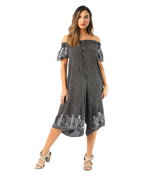4b71d2b57db ... Womens Off Shoulder Embroidered Jumpsuit Romper - Charcoal -  CV187Y4IRQ6. On sale! New. Riviera Sun 21832 CHR 1X Jumpsuit Jumpsuits