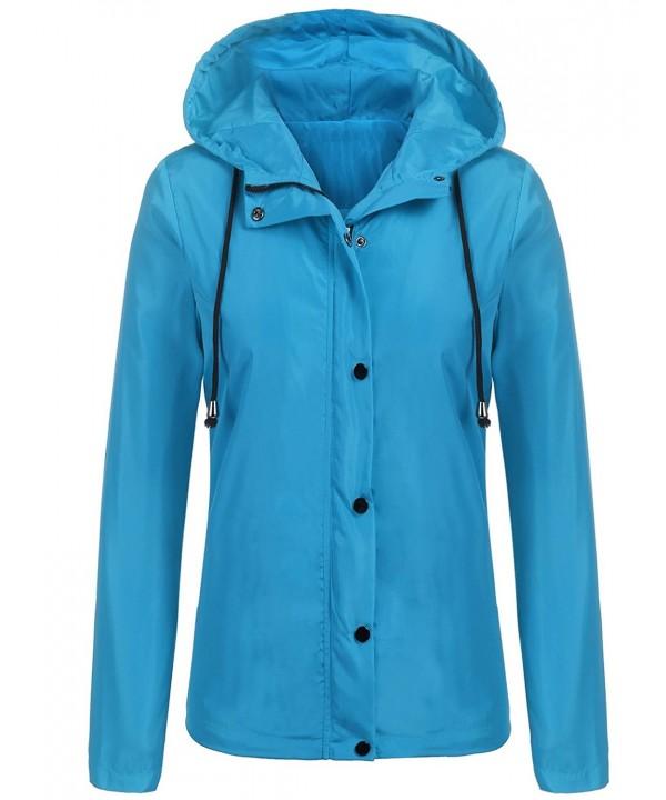 d9d213355d1 Women's Waterproof Lightweight Outwear Hooded Button Down Rain ...