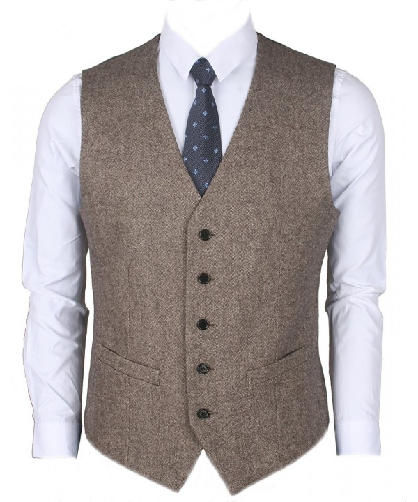 Ruth Boaz 2Pockets 5Buttons Wool Herringbone Tweed Business Suit Vest Tweed