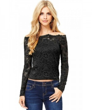 Ambiance Womens Off Shoulder Sleeve Black