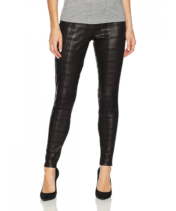 HUE Womens Plaid Leggings Black