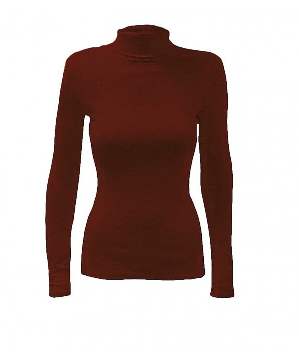 Ribbed Sleeve Turtle Sweater Burgundy
