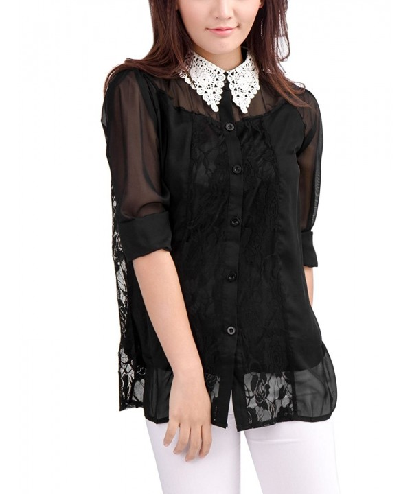 Allegra Women Sheer Chiffon Blouse