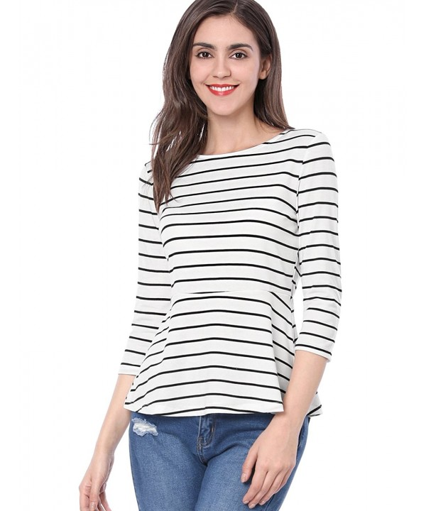 Allegra Womens Sleeves Flared Striped