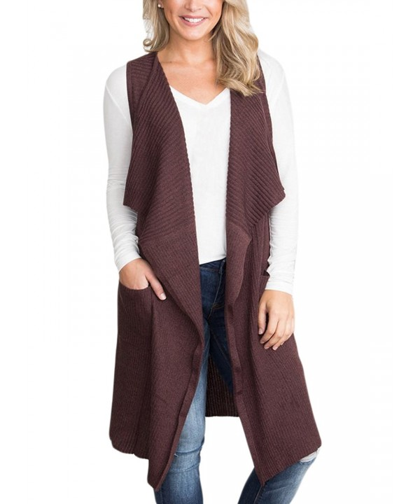 BLENCOT Lightweight Sleeveless Cardigan Pockets Coffee