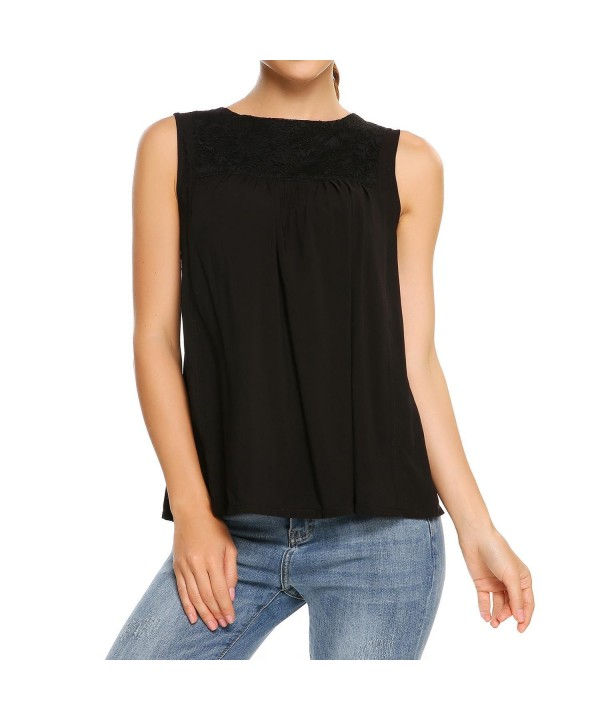 Zeagoo Splicing Sleeveless Blouses Pleated
