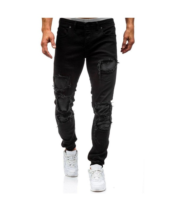 7686ae2c3b97 ... Men s Jeans Distressed Ripped Biker Moto Denim Pants Slim Fit Zipper -  Black - C9188QRKNDW. On sale! New. AOWOFS Jeans Distressed Ripped Zipper