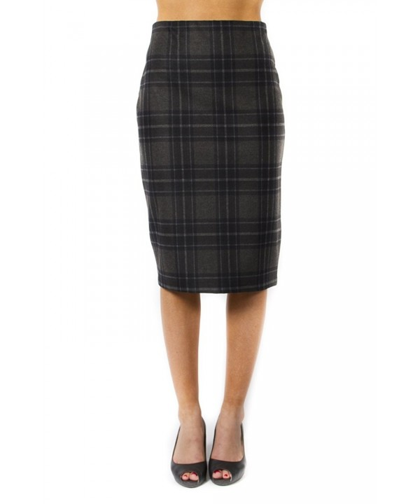 Jules Leopold Womens Plaid Pencil