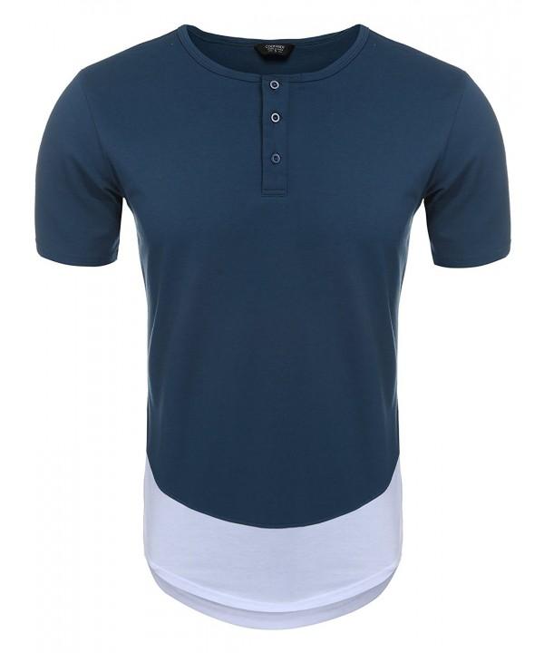COOFANDY Hipster Patchwork Hemline T Shirt