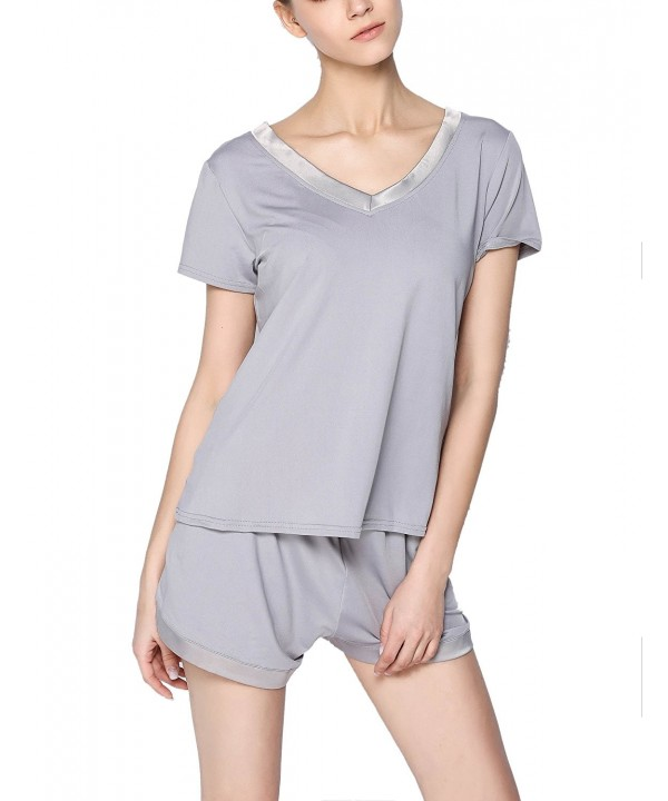 GUANYY Womens V Neck Sleepwear Sleeve