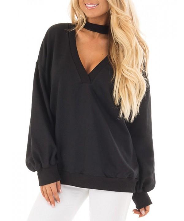 JOYMODE Sleeve V Neck Polyester Sweatshirts