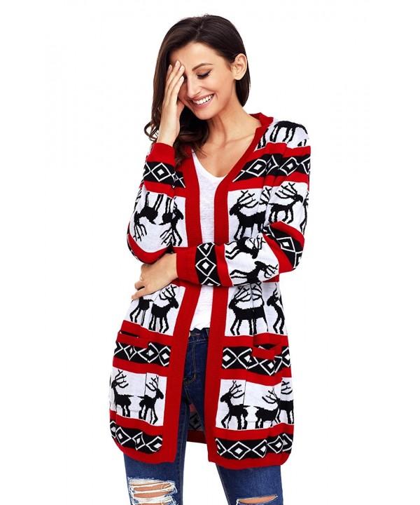 Shawhuwa Christmas Sweater Reindeer Cardigan