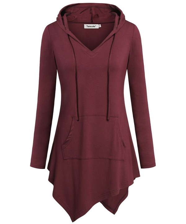 Tencole Sleeves Hoodies Maternity Burgundy
