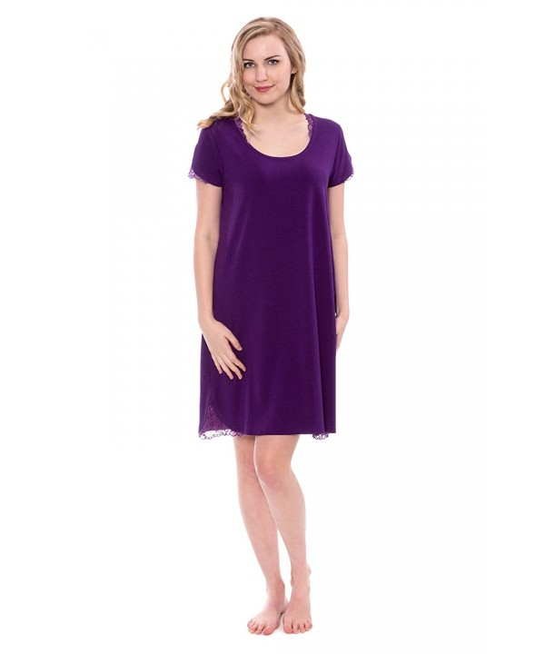 TexereSilk Womens Jersey Nightgown TX WB040 002 ACAI R S