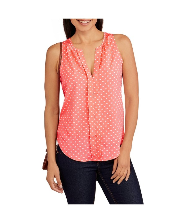 Millennium Womens Pleated Y Neck Hearts