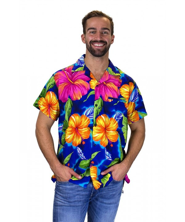 Funky Hawaiian Shirt BigFlower blue