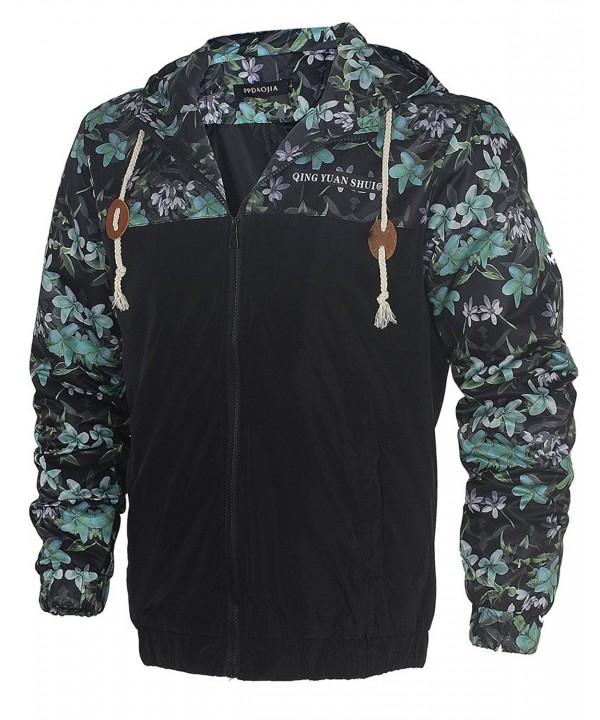 HENGJIA Stylish Floral Print Jackets Wind Resistant