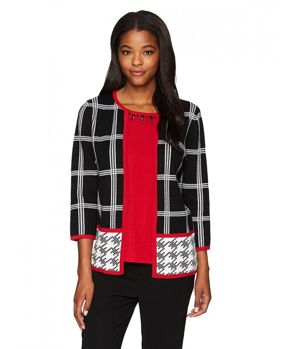 Alfred Dunner Womens Houndstooth Border
