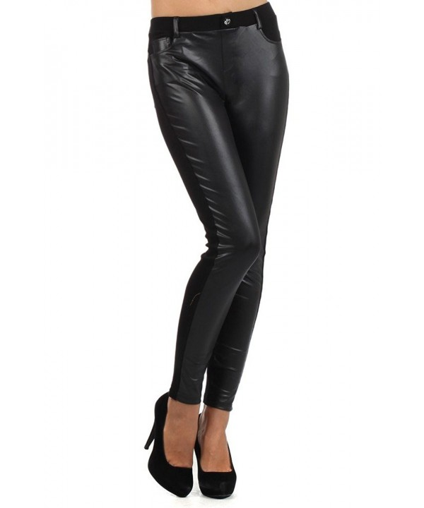 Fashion Womens Leather Leggings Contrast