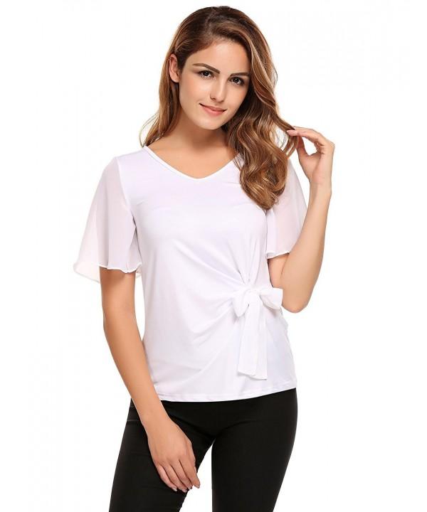 d2644f3d4fee4 ... Women s Sleeveless Ruffle Front Tank Top Sexy V Neck Office Chiffon  Blouse Shirt - White-tie Waist - C5184T64O7N. On sale! New. ThinIce Casual  Chiffon ...