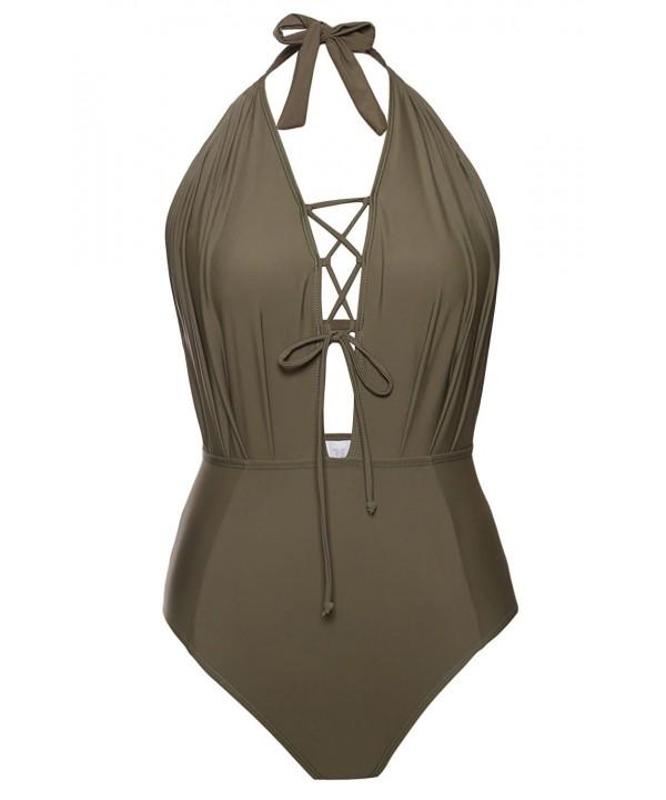 Aleumdr Striped Backless Swimsuit Swimwear