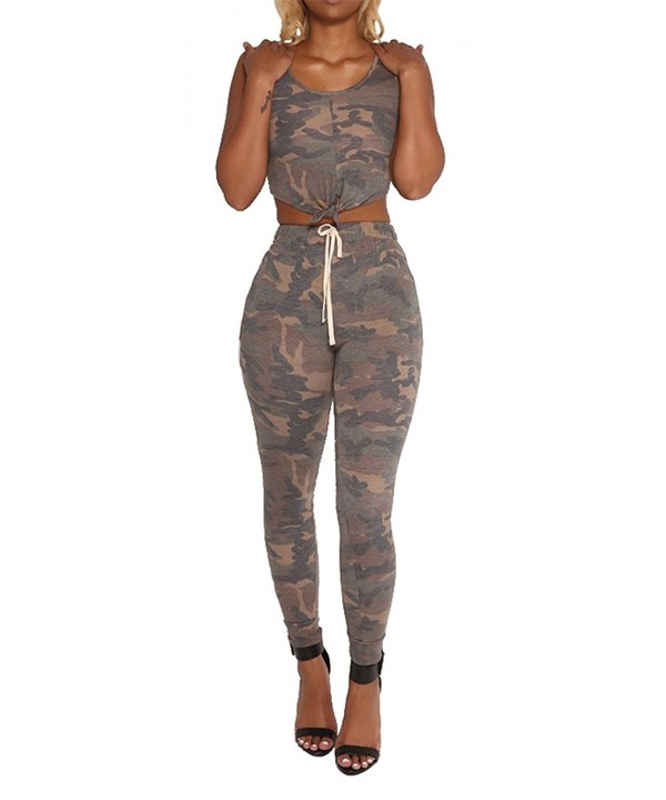 Sleeveless Camouflage Bodycon Jumpsuit Sportswear