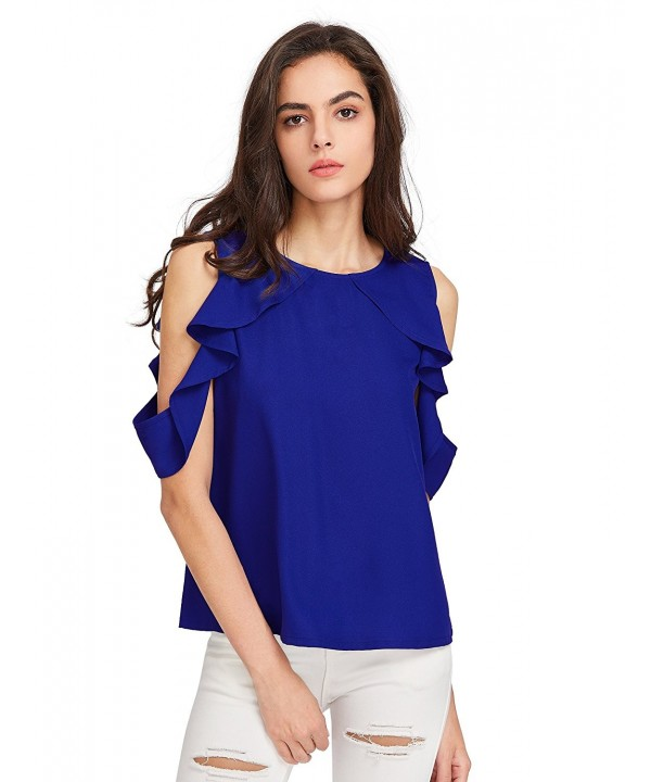 MakeMeChic Womens Shoulder Casual Blouse