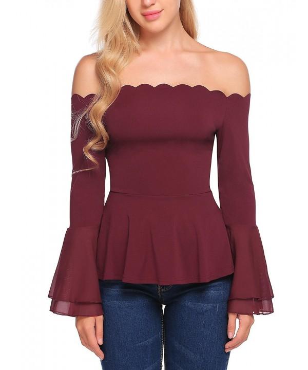Zeagoo Womens Strapless Blouses Shoulder