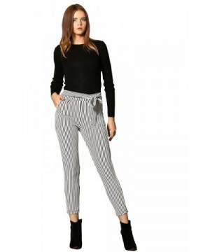 Sateen Womens Cotton Pants Striped Casual