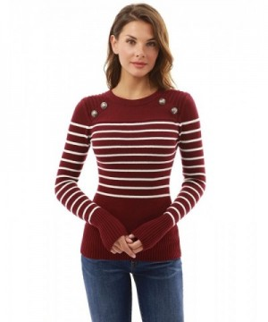 PattyBoutik Crewneck Striped Military Burgundy