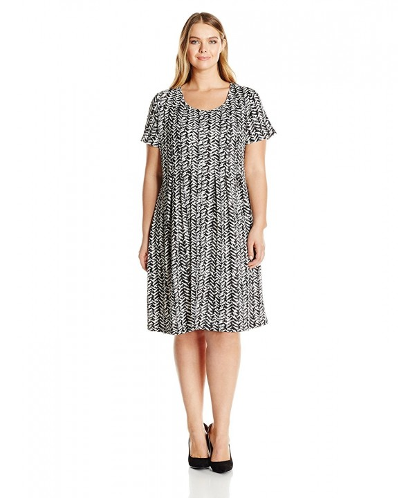 Notations Womens Printed Sleeve Pleated