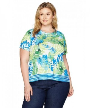 Alfred Dunner Womens Tropical Border