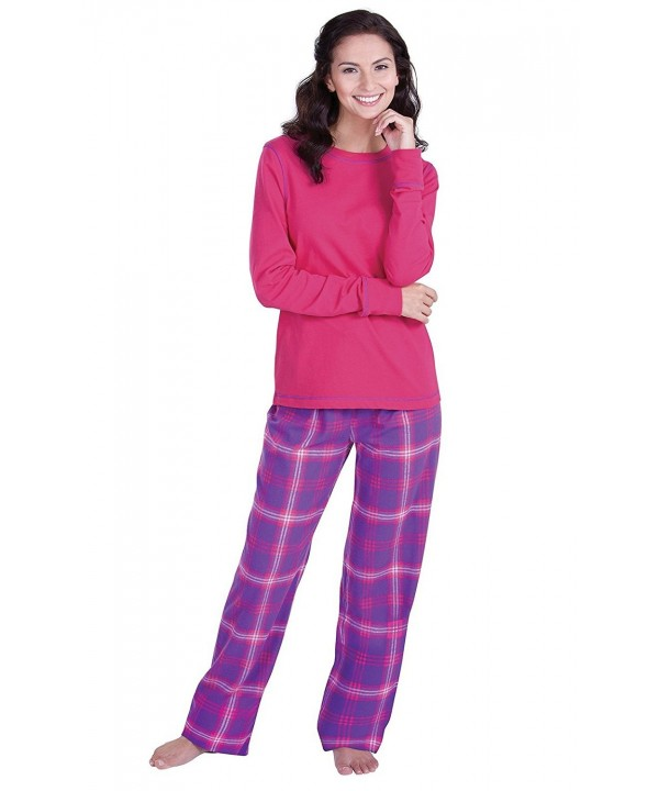 PajamaGram Flannel Pajamas Sleeves Raspberry