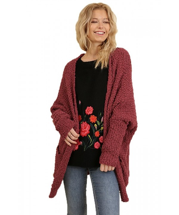 Umgee Womens Cardigan Sweater Marsala