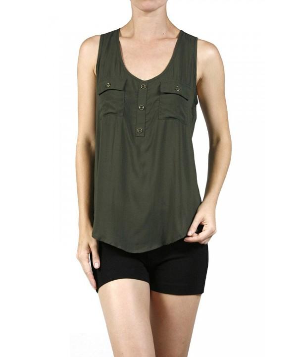 Ever77 Womens Pockets TT1020AC Dk Olive XL