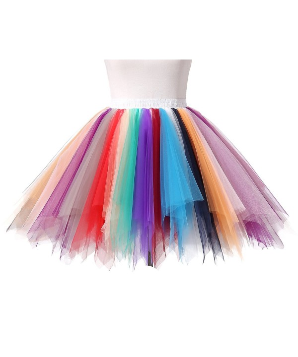 Poplarboy Colorful Petticoat Rainbow Evening