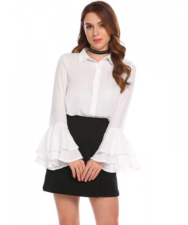 ab7008355 Women's Sexy Sheer Chiffon Blouses Long Bell Sleeve Top Button Down ...