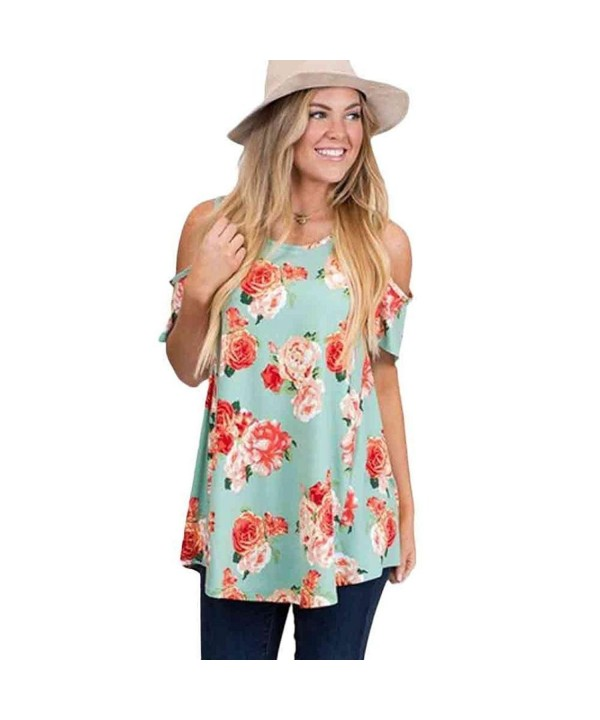 Hoyod Womens Shoulder T Shirt Blouses
