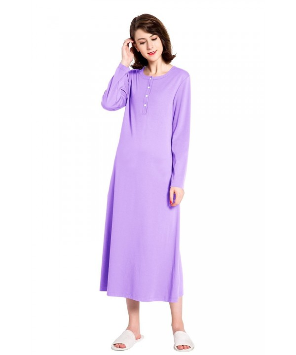 lantisan Cotton Sleeve Nightgown Henley